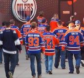 Edmonton Oiler Hockey Fans Royalty Free Stock Photos