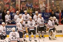 The Edmonton Oilers Bench Stock Image