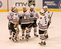 The Edmonton Oilers Congratulate Each Other Royalty Free Stock Photography