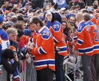 Edmonton Oilers gracz w hokeja spotkanie Fotografia Royalty Free