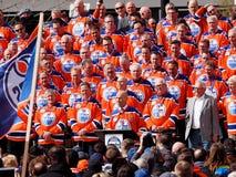 Edmonton Oilers Hockey Players Reunion. For last hockey game in Edmonton Alberta`s Coliseum April 6, 2016 Stock Photos