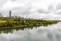 Edmonton from the River. Aerial view at Edmonton from the River. Edmonton, Alberta, Canada royalty free stock photos