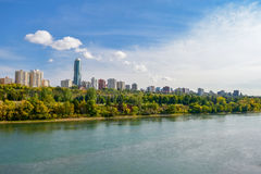 Edmonton from the River. Aerial view at Edmonton from the River. Edmonton, Alberta, Canada stock photo