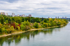Edmonton from the River. Aerial view at Edmonton from the River. Edmonton, Alberta, Canada stock photos
