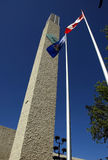 Edmonton's City Hall. Clock tower and flags at Edmonton's City Hall Stock Photo