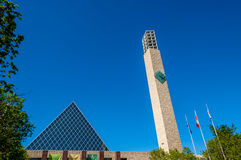 Edmonton's City Hall. Clock tower and flags at Edmonton's City Hall Royalty Free Stock Photo