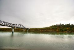 Edmonton. Saskatchewan river foot bridge royalty free stock images