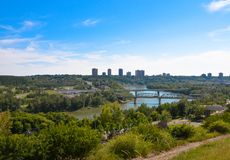 Edmonton Saskatchewan River Overpass. A view of the Edmonton Saskatchewan River Overpass and the surrounding areas during the summer time Stock Photo