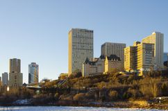 Edmonton skyline. Edmonton is the capital city of the Canadian province of Alberta. Edmonton is on the North Saskatchewan River and is the centre of the Edmonton Stock Photo