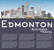 Edmonton Skyline with Gray Buildings, Blue Sky and Copy Space. Royalty Free Stock Photography