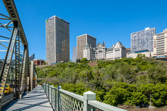Edmonton skyline. In summer with the Fairmont Hotel MacDonald in the middle royalty free stock photo
