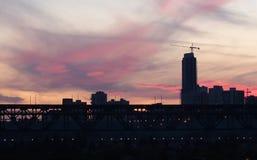 Edmonton Skyline And Sunset Stock Photo