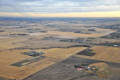 Edmonton suburban from air. Bird view of suburban of city edmonton from an airplane, alberta, canada Stock Images
