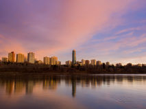 Edmonton Sunrise. The soft hues of sunrise reflect off the North Saskatchewan River in Edmonton Royalty Free Stock Photography