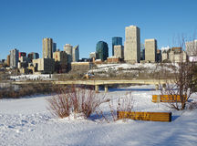 Edmonton in Winter. The downtown skyline of Edmonton, Alberta, Canada in the winter stock image