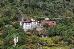 Edmund Hillary Monastery in Khumjung village, Nepal Himalayas. Edmund Hillary Monastery in Khumjung village, trek to Everest base camp, Sagarmatha national park royalty free stock photo