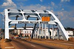 Edmund Pettus Bridge, Selma Alabama. The Edmund Pettus bnridge, named for a Confenerate General, was the sight of a bloody Civil Rights clash in Selma Alabama Stock Photos