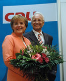 Edmund Stoiber, Angela Merkel Stock Photos