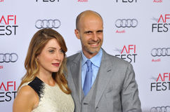 Edoardo Ponti & Sasha Alexander. LOS ANGELES, CA - NOVEMBER 12, 2014: Edoardo Ponti & wife actress Sasha Alexander at the American Film Institute's special Stock Images