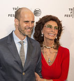Edoardo Ponti and Sophia Loren. Proad Mama, Oscar-winner Sophia Loren, arrives on the red carpet with her son, Edoardo Ponti, for the world premiere of the short Stock Photos