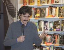Edoardo Winspeare talking microphone Royalty Free Stock Photo