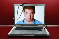 Edoctor in Laptop Royalty Free Stock Photos