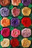 Edredón de remiendo con las flores Foto de archivo libre de regalías