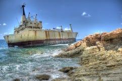 Edro III,海洞,帕福斯,塞浦路斯的击毁 库存照片