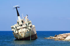 Edro III cargo ship aground near the shore of the Sea Caves at P. Sea Caves, Cyprus - July 24, 2015: Edro III cargo ship aground near the shore of the Sea Caves stock photography