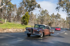 1958 Edsel Citation Convertible. Adelaide, Australia - September 25, 2016: Vintage 1958 Edsel Citation Convertible driving on country roads near the town of Royalty Free Stock Image