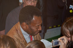 Edson Arantes do Nascimento Pele. BERLIN, GERMANY - JUNE 7TH: Edson Arantes do Nascimento, Pele, signing autographs during the opening o the Pelestation Royalty Free Stock Photo