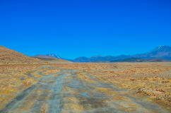 Eduardo Avaroa Andean Fauna National Reserve, Bolivia. Mountains and arid landscape with blue sky in Bolivia Royalty Free Stock Image
