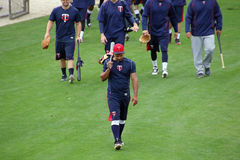 Eduardo Escobar Leading the Players Off the Practice Field Royalty Free Stock Image