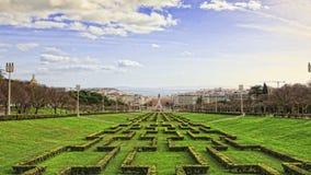 Eduardo VII park and gardens in Lisbon, stock footage