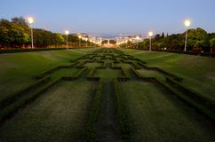 Eduardo VII Park, Lisbon i natten Royaltyfri Bild