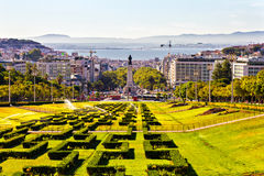 Eduardo VII park and Marques de Pombal square Stock Image