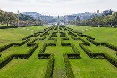 Eduardo VII parkerar i Lissabon, Portuga Royaltyfria Foton