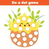 Eduational game for children. Do a dot for kids and toddlers with cute chicken.  Stock Photo
