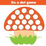 eduational gra dla dzieci Robi kropce dla dzieciaków i berbeci z pieczarką Zdjęcie Stock