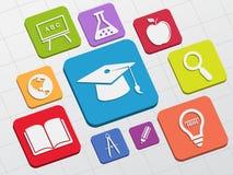 A educação assina dentro blocos lisos Fotografia de Stock