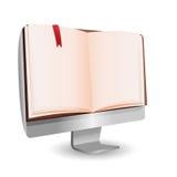 Educação da tecnologia da leitura do livro do computador Ilustração do Vetor