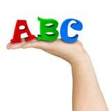 Educação de oferecimento ABC da mão treinamento tutorial Imagens de Stock