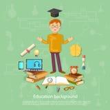 A educação de volta às ferramentas da escola da estudante da escola estuda e aprende ilustração royalty free
