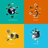 Educação do foronline dos ícones, pesquisa, ideia criativa e ensino eletrónico Foto de Stock