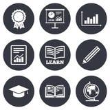 Educação e ícone do estudo Sinais da apresentação ilustração do vetor
