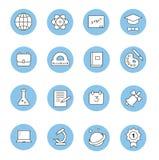 A educação e a aprendizagem da linha fina lisa ícones ajustaram-se, Fotografia de Stock