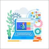 Educação em linha, em linha aprendendo, concep social do mercado dos meios ilustração do vetor