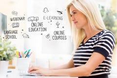 Educação em linha com a jovem mulher feliz na frente do computador imagens de stock royalty free