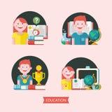 Educação, escola Emblema do vetor, logotipo ilustração do vetor