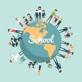 Educação escolar no conceito do mundo ilustração royalty free
